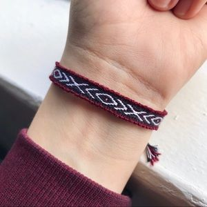 Jewelry - $4 BUNDLED❥ Burgundy & Black Boho Woven Bracelet